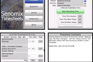 Senomix Timesheets for BlackBerry screenshot