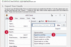 Import eM Client into Outlook 2010 screenshot