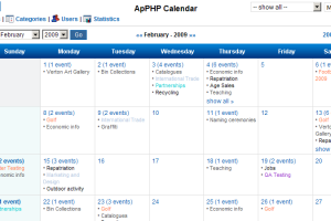ApPHP Events Calendar Web Control screenshot