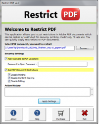 Lock PDF Printing, Copying, Editing screenshot