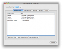 Air Video Server for Mac OS X screenshot