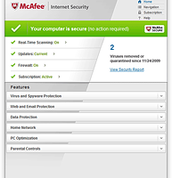 McAfee Internet Security 2013 screenshot