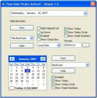 Time Date Picker ActiveX screenshot