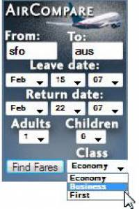 AirCompare Gadget screenshot