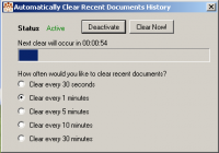 Auto Clear Recent Documents History screenshot