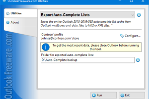 Export Auto-Complete Lists for Outlook screenshot